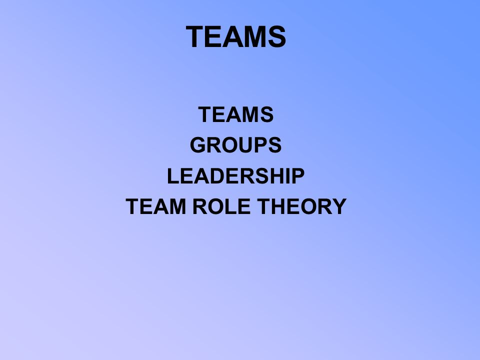 TEAMS GROUPS LEADERSHIP TEAM ROLE THEORY