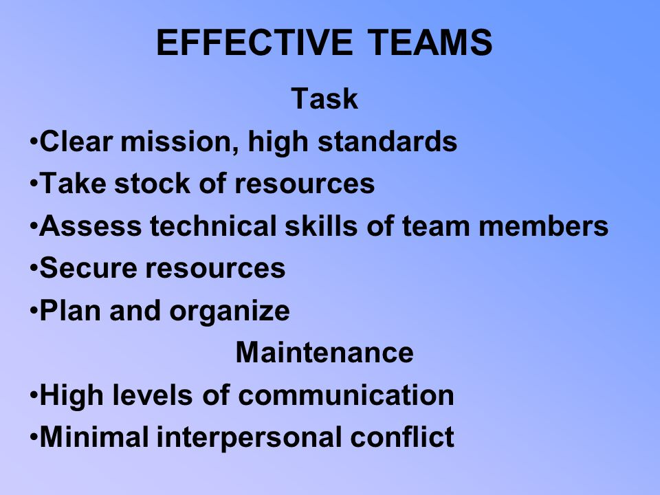 EFFECTIVE TEAMS Task Clear mission, high standards