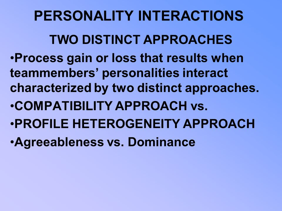 PERSONALITY INTERACTIONS