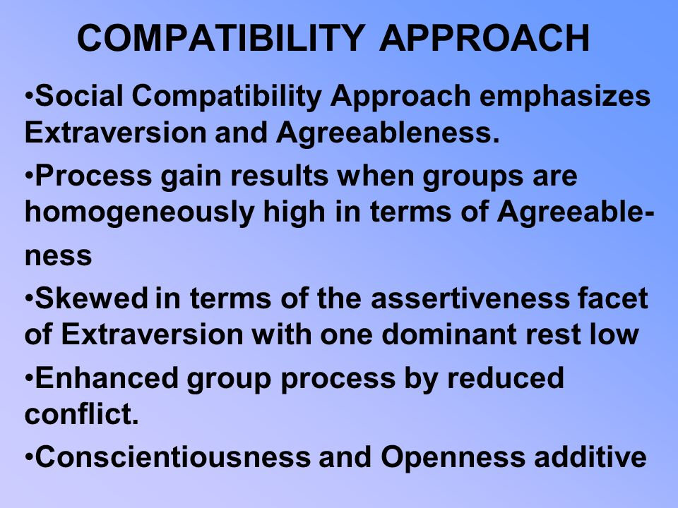 COMPATIBILITY APPROACH