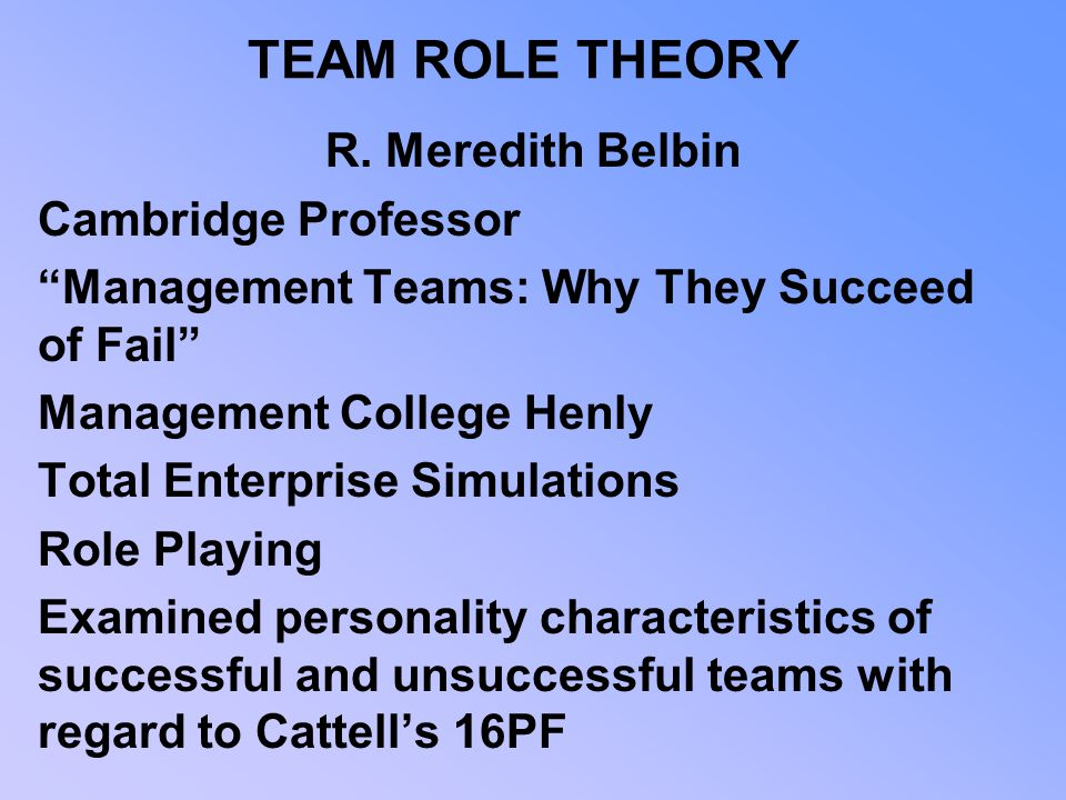 TEAM ROLE THEORY R. Meredith Belbin Cambridge Professor