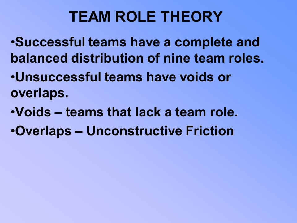 TEAM ROLE THEORY Successful teams have a complete and balanced distribution of nine team roles. Unsuccessful teams have voids or overlaps.