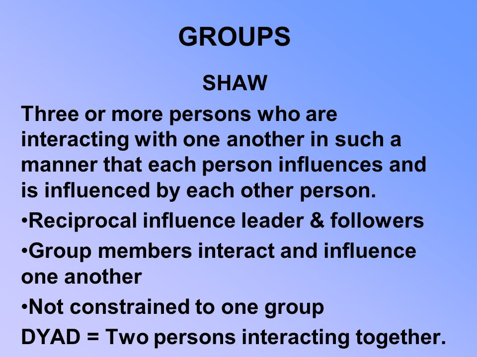 GROUPS SHAW.