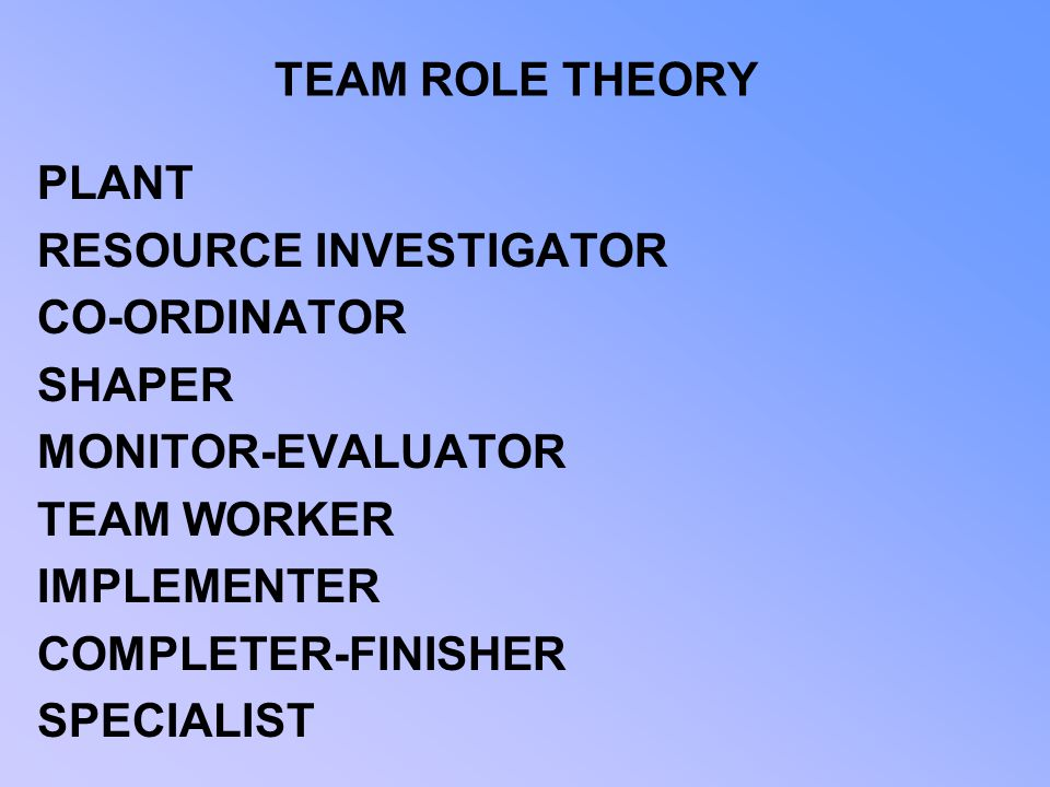 TEAM ROLE THEORY PLANT. RESOURCE INVESTIGATOR. CO-ORDINATOR. SHAPER. MONITOR-EVALUATOR. TEAM WORKER.