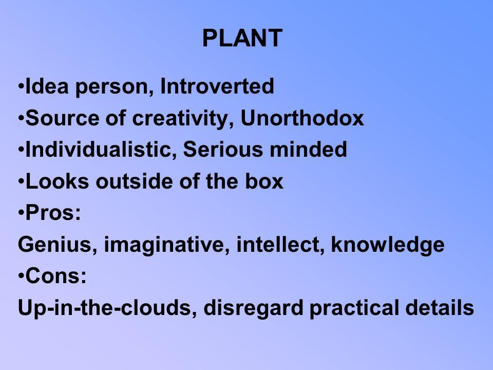 PLANT Idea person, Introverted Source of creativity, Unorthodox