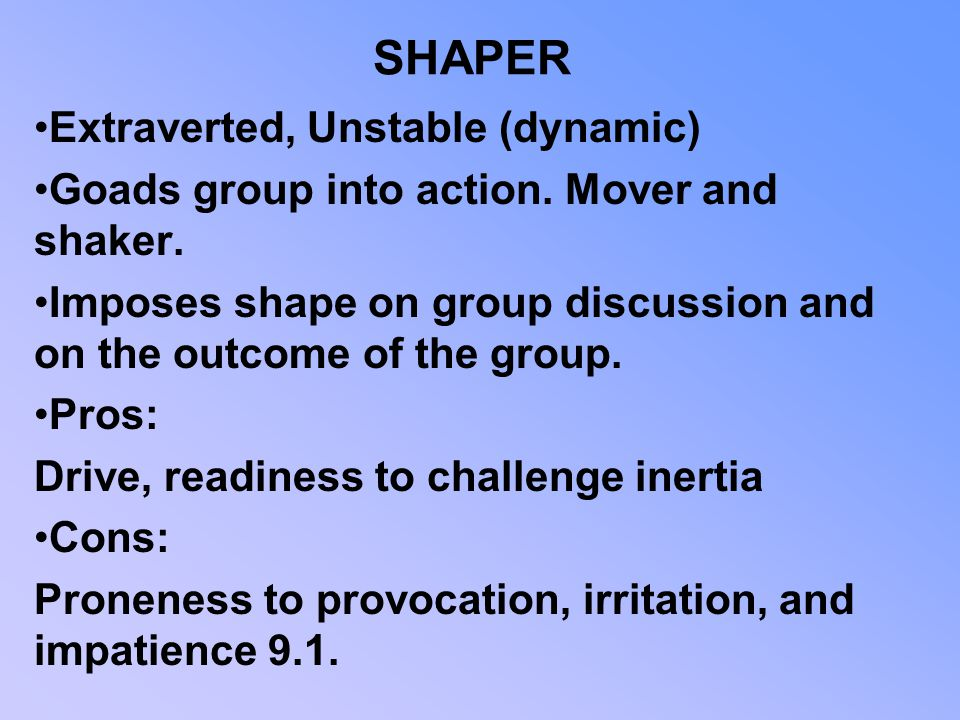 SHAPER Extraverted, Unstable (dynamic)