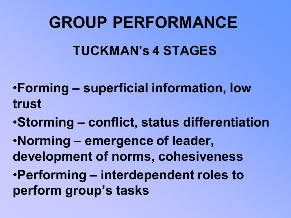 GROUP PERFORMANCE TUCKMAN's 4 STAGES