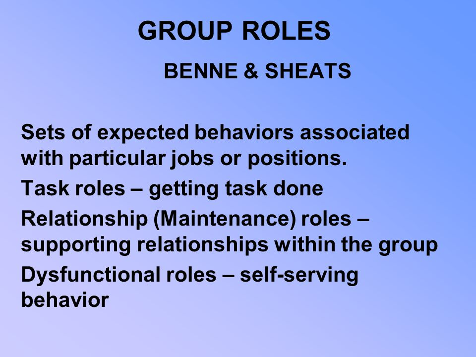 GROUP ROLES BENNE & SHEATS