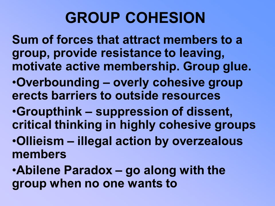 GROUP COHESION Sum of forces that attract members to a group, provide resistance to leaving, motivate active membership. Group glue.