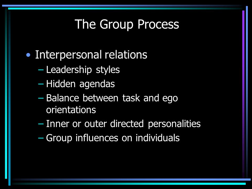 The Group Process Interpersonal relations Leadership styles