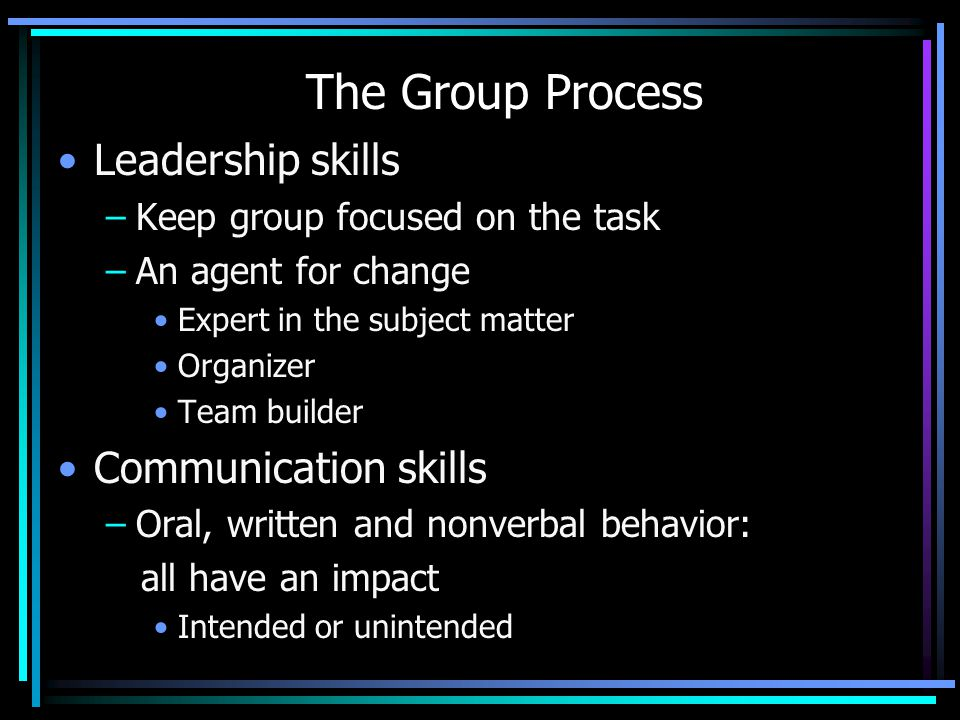 The Group Process Leadership skills Communication skills