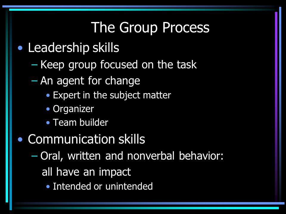 The Group Process Leadership skills Communication skills