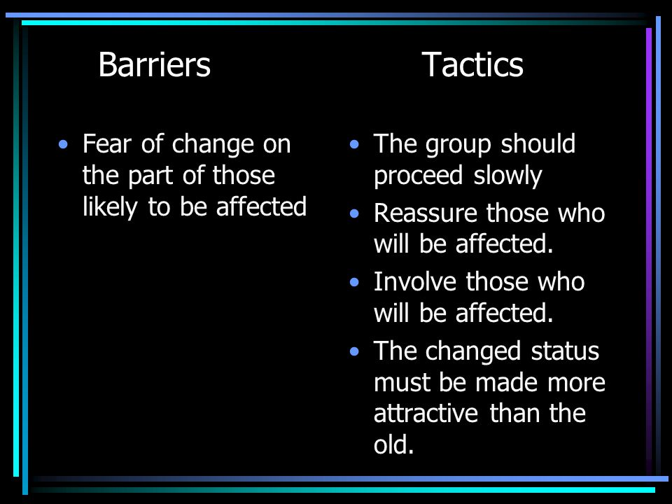 Barriers Tactics Fear of change on the part of those likely to be affected. The group should proceed slowly.