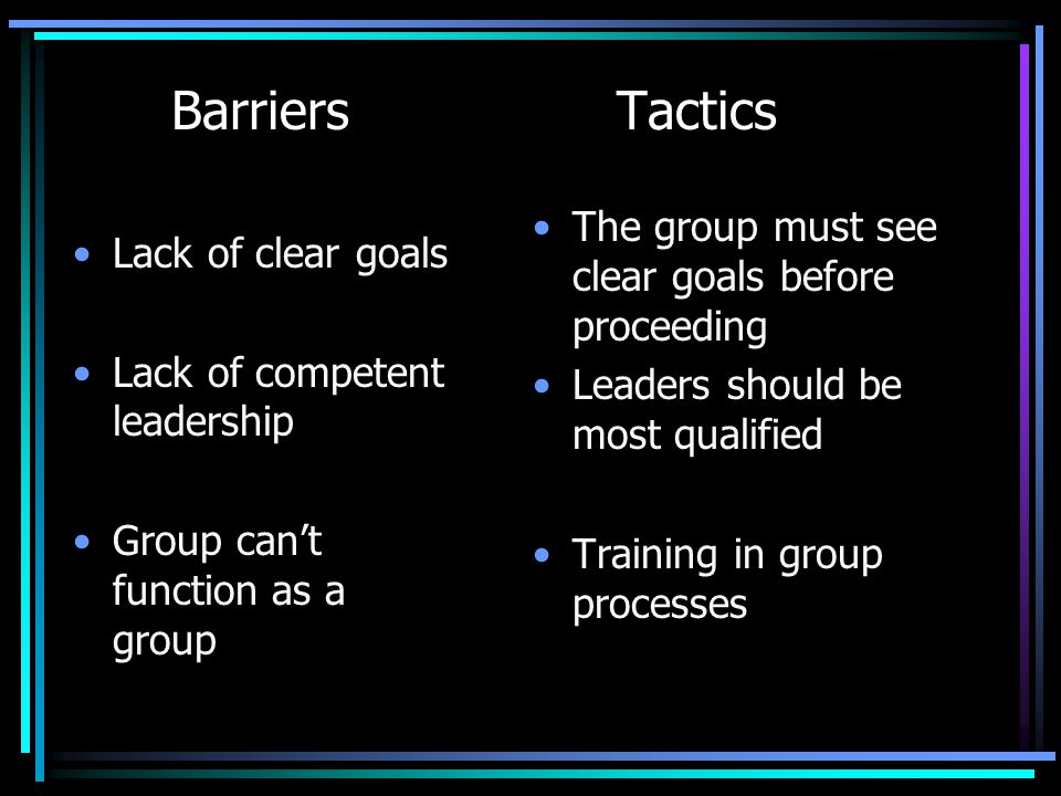 Barriers Tactics The group must see clear goals before proceeding