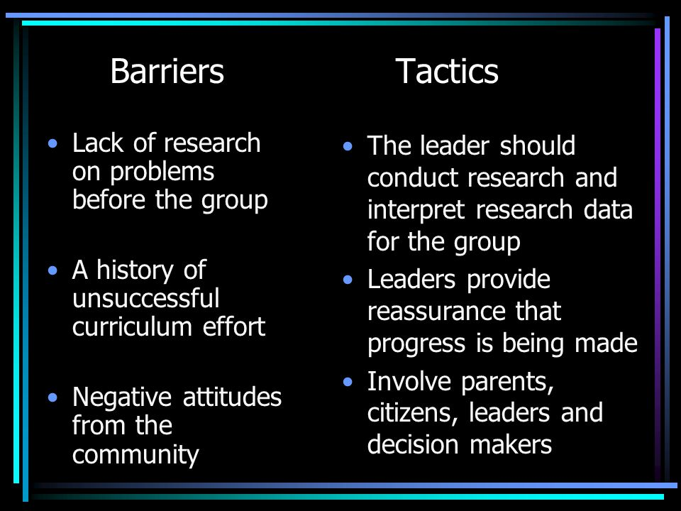 Barriers Tactics Lack of research on problems before the group