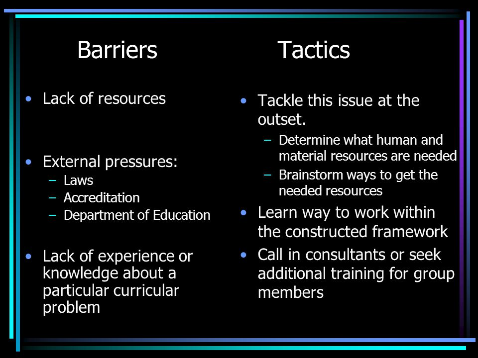 Barriers Tactics Lack of resources External pressures: