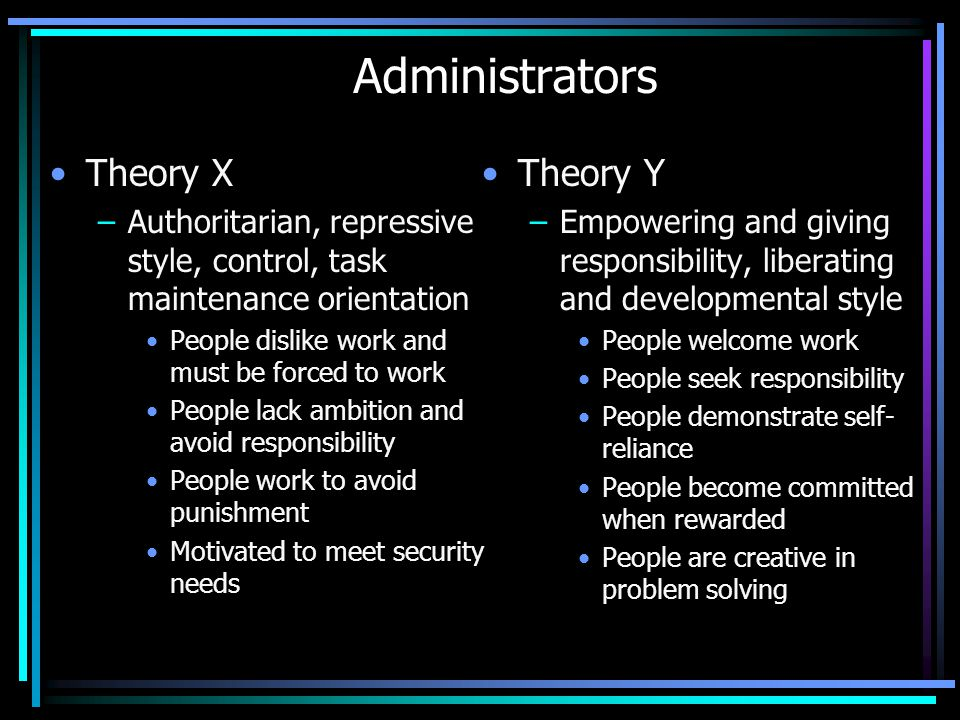 Administrators Theory X Theory Y