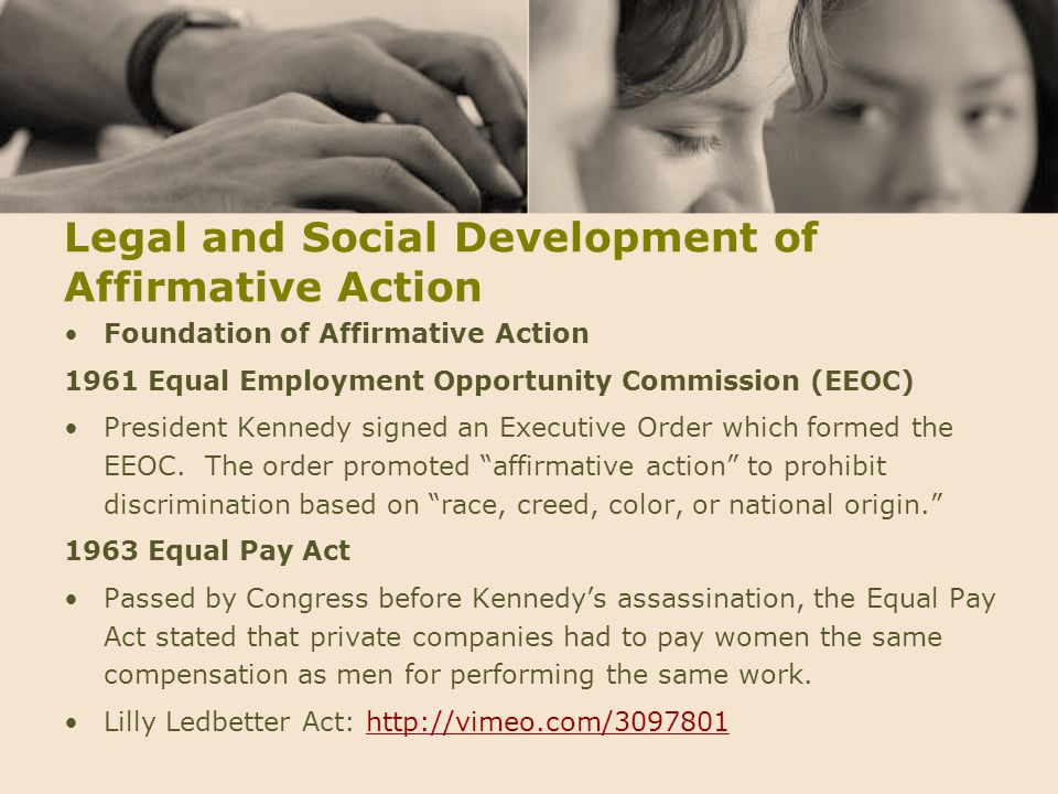 Legal and Social Development of Affirmative Action