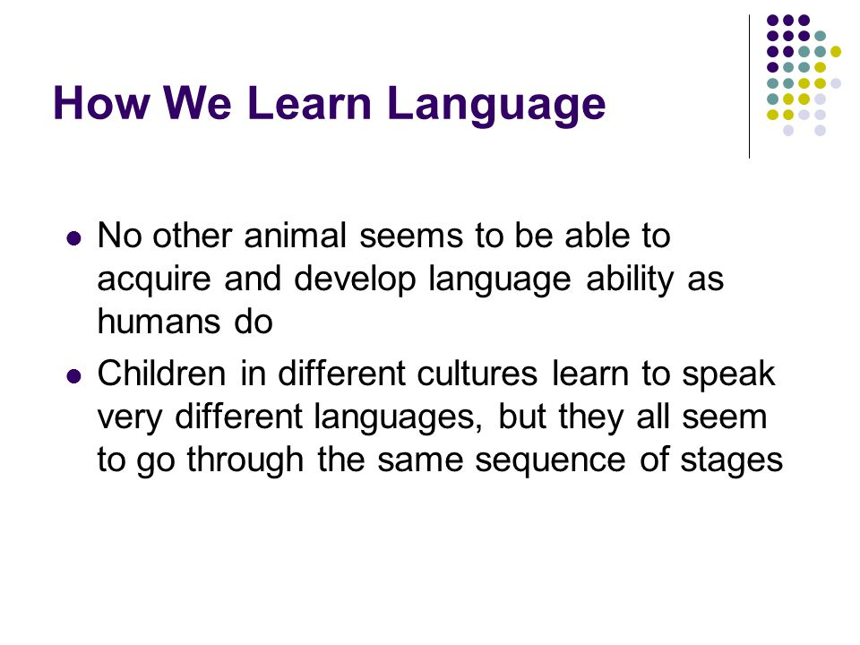 How We Learn Language No other animal seems to be able to acquire and develop language ability as humans do.