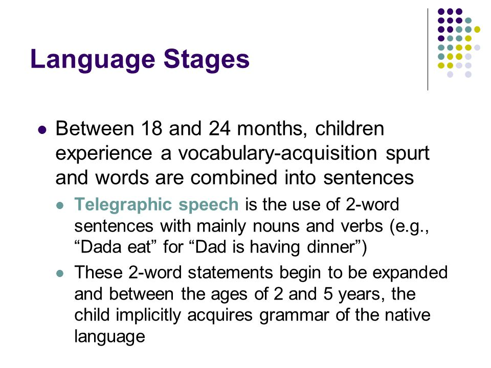 Language Stages Between 18 and 24 months, children experience a vocabulary-acquisition spurt and words are combined into sentences.