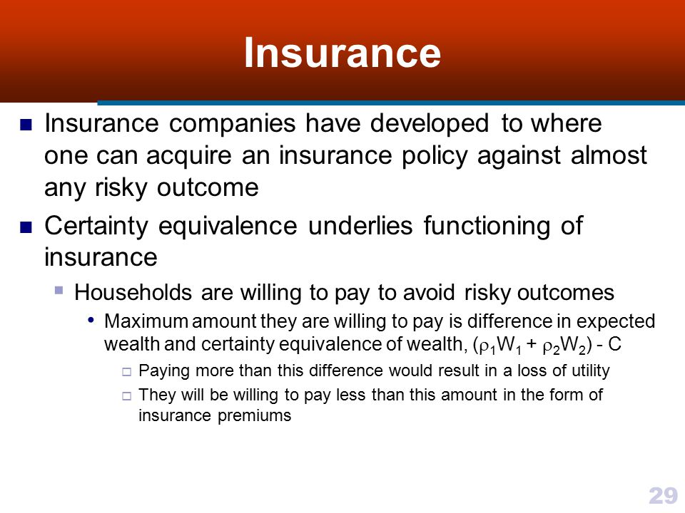 Insurance Insurance companies have developed to where one can acquire an insurance policy against almost any risky outcome.