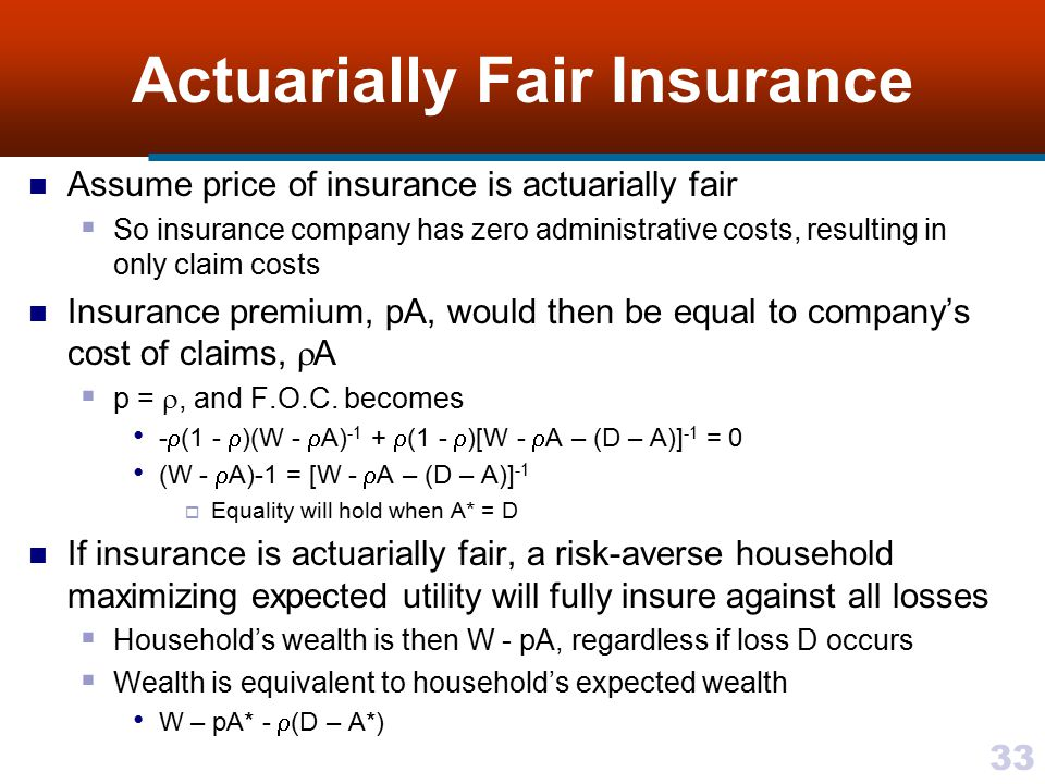 Actuarially Fair Insurance
