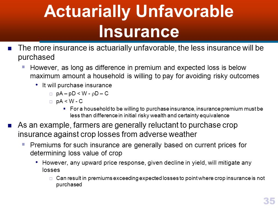 Actuarially Unfavorable Insurance