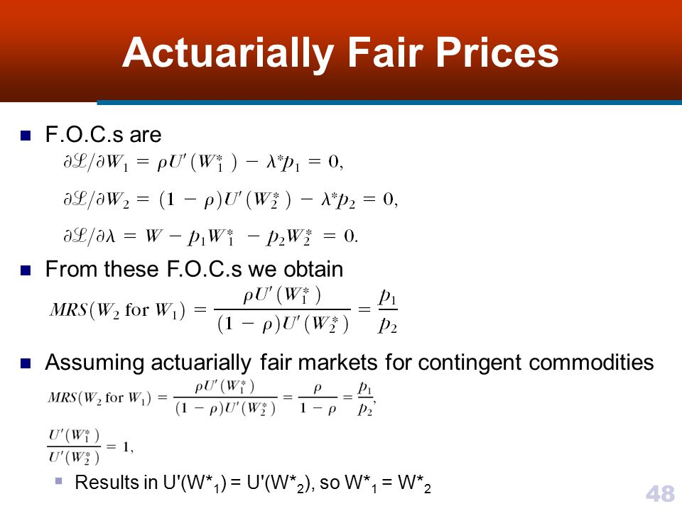 Actuarially Fair Prices