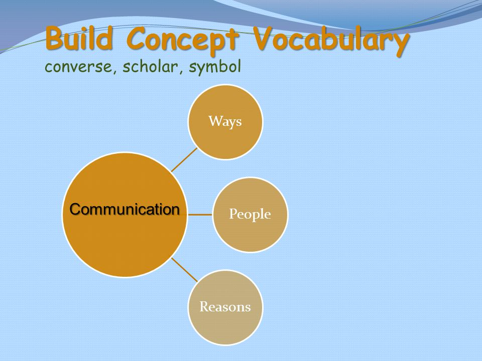 Build Concept Vocabulary converse, scholar, symbol