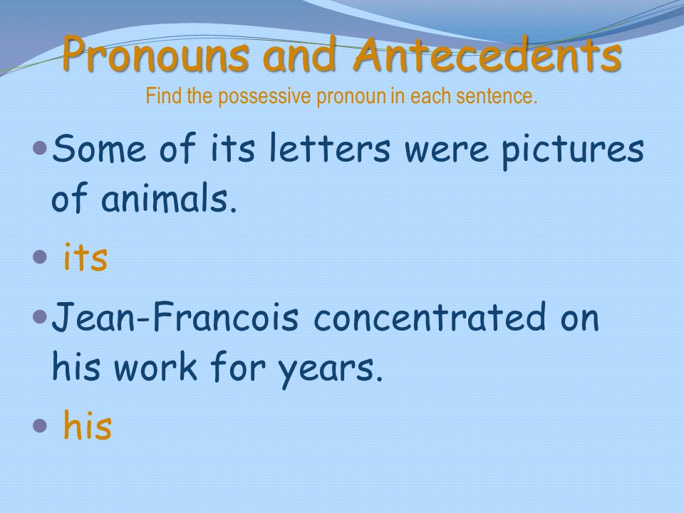 Pronouns and Antecedents Find the possessive pronoun in each sentence.