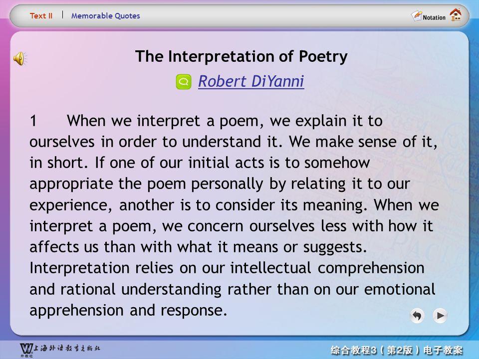 The Interpretation of Poetry