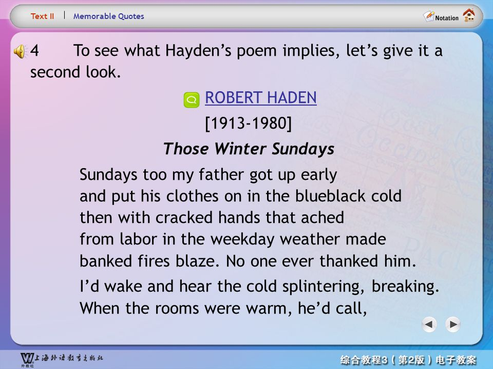 Text4.1 Text II. Memorable Quotes. 4 To see what Hayden's poem implies, let's give it a second look.
