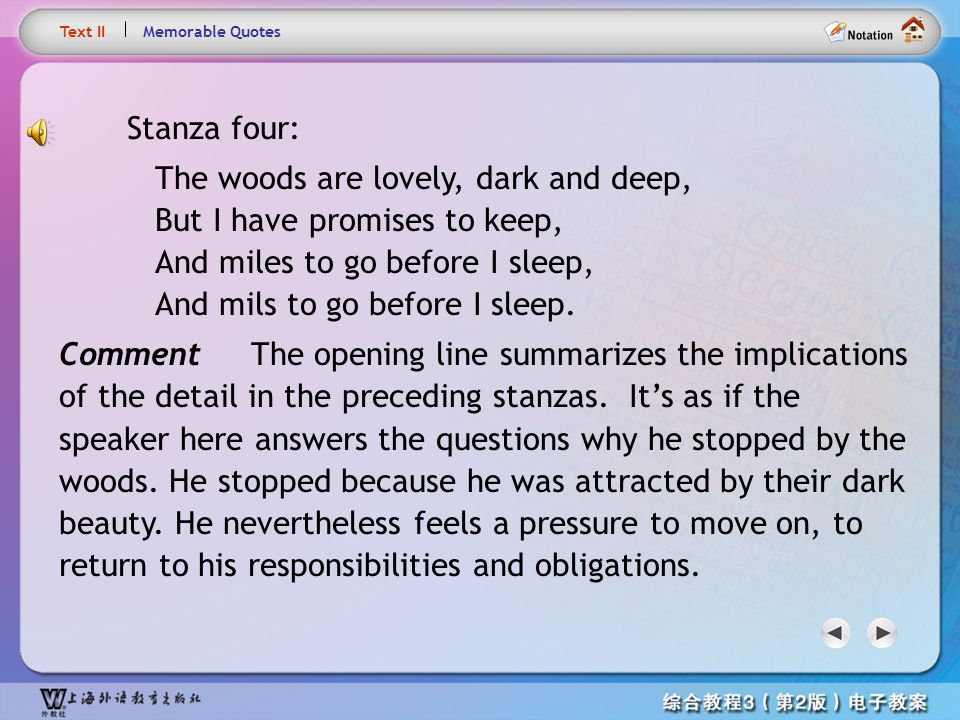 Text8.8 Text II. Memorable Quotes. Stanza four: