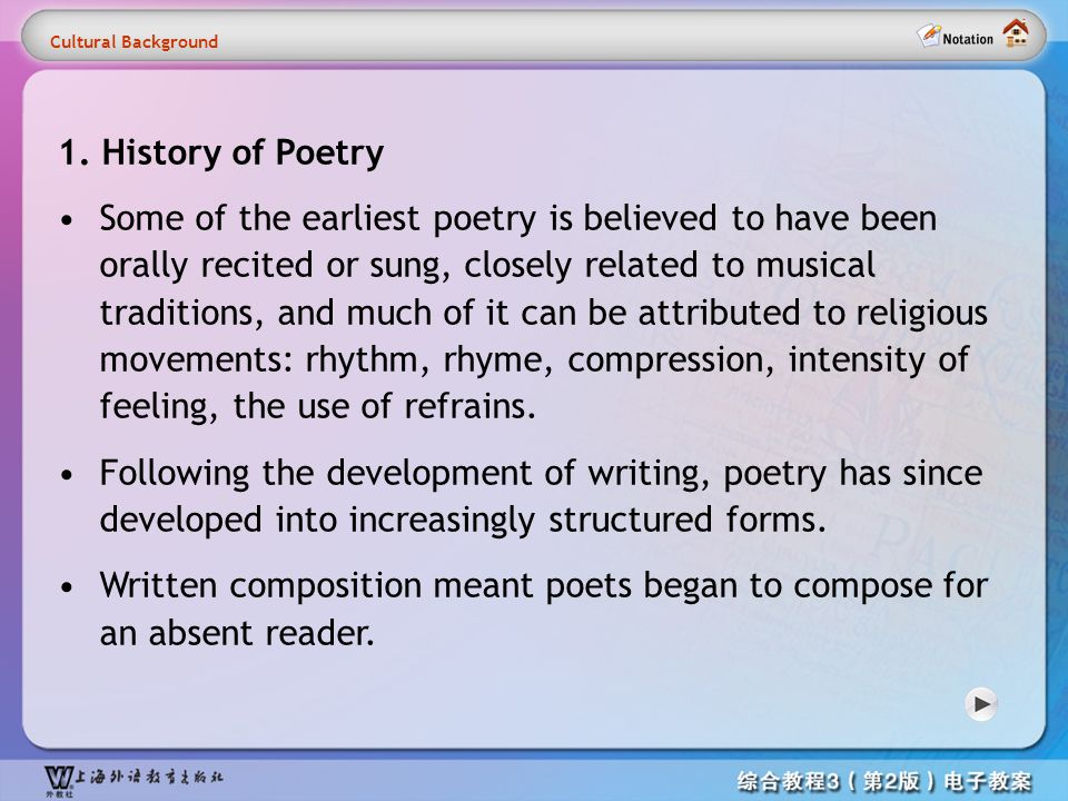 Cultural information1 1. History of Poetry