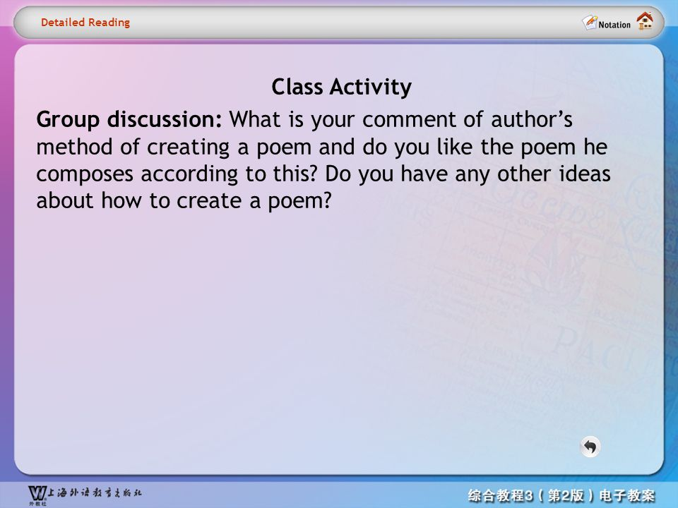 Detailed reading– Activity