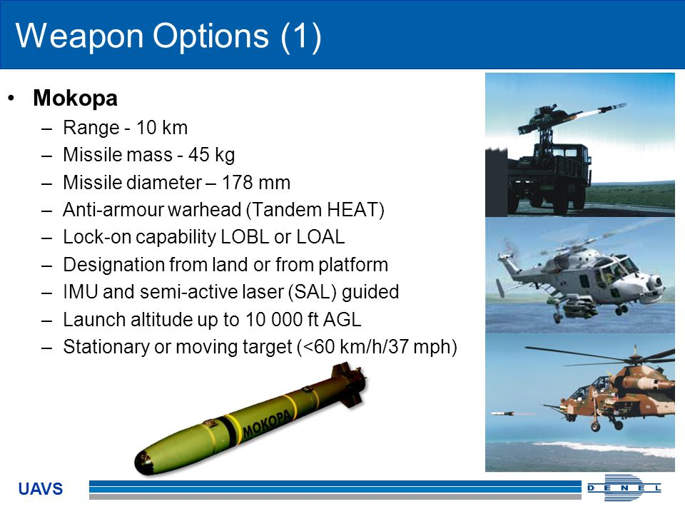 Weapon Options (1) Mokopa Range - 10 km Missile mass - 45 kg