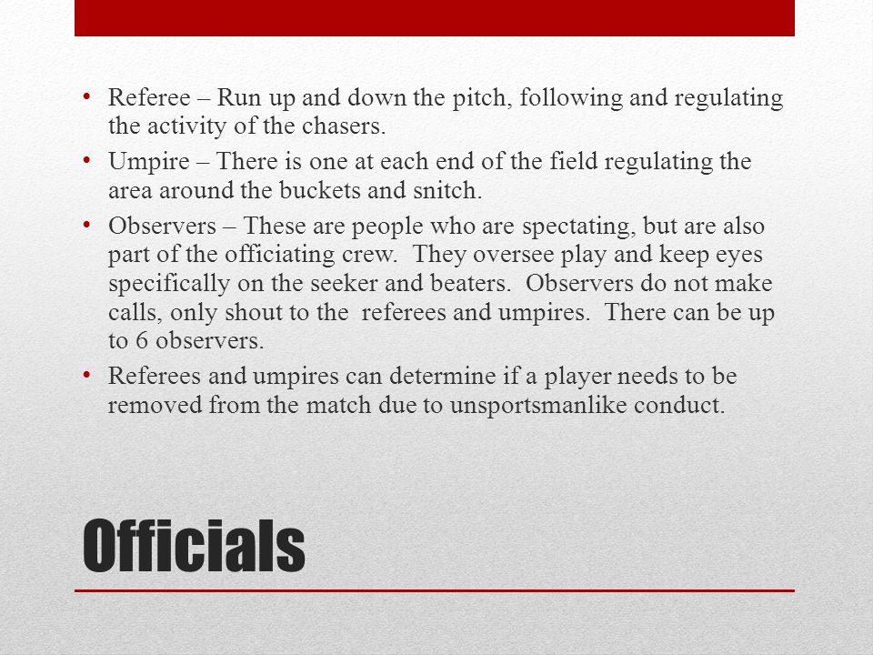 Referee – Run up and down the pitch, following and regulating the activity of the chasers.