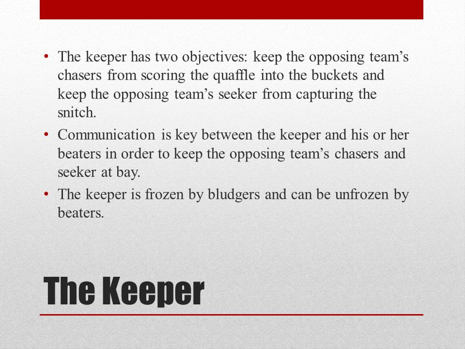 The keeper has two objectives: keep the opposing team's chasers from scoring the quaffle into the buckets and keep the opposing team's seeker from capturing the snitch.