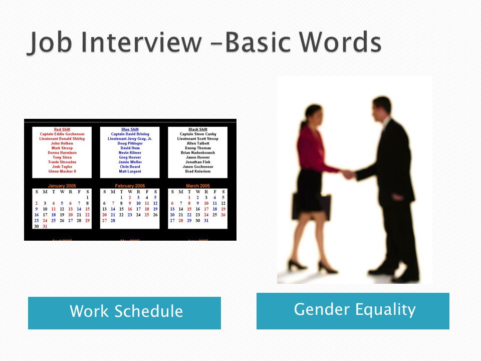 Job Interview –Basic Words