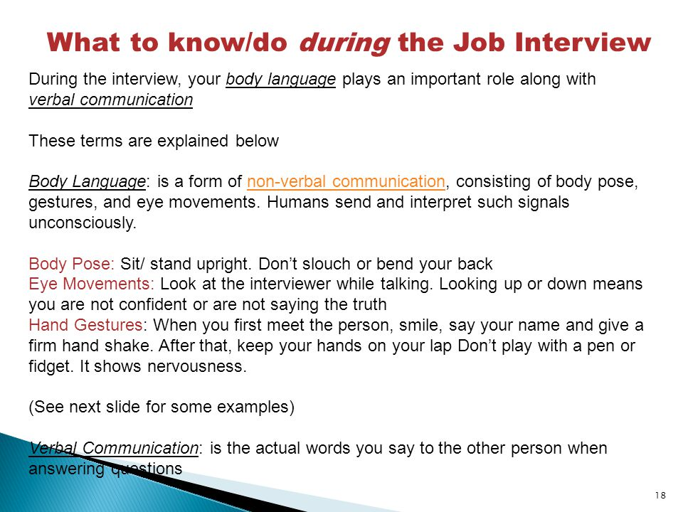 What to know/do during the Job Interview
