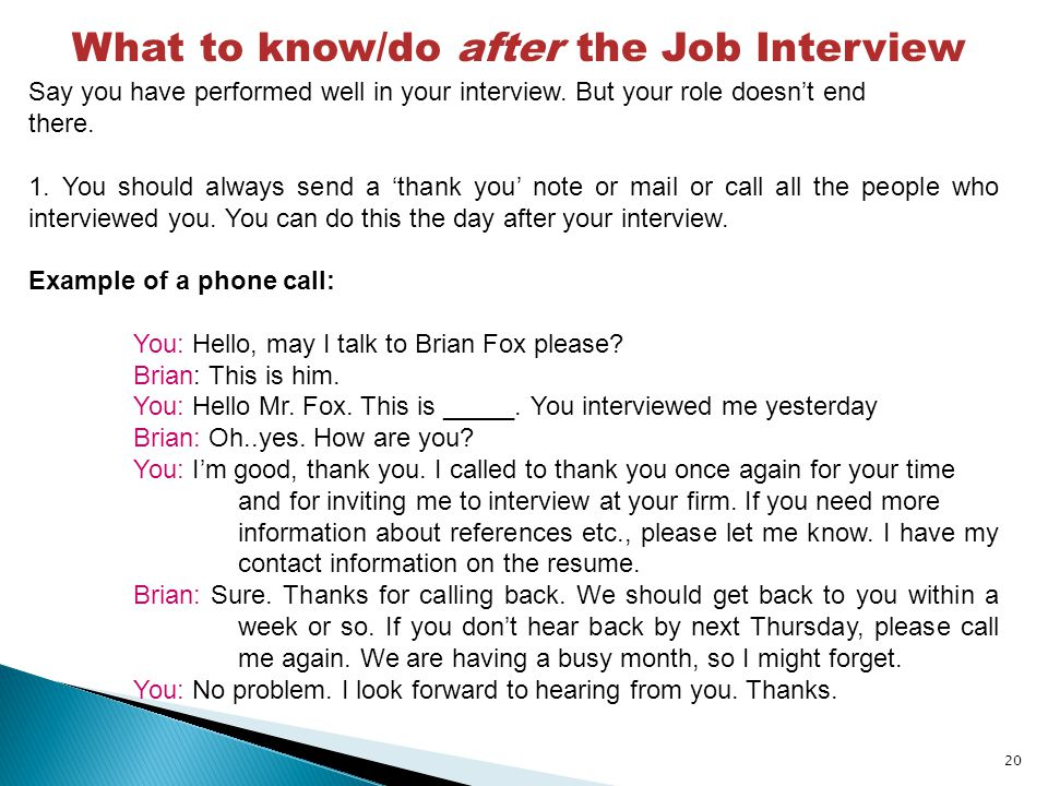 follow up call after an interview dos and donts to be aware of how