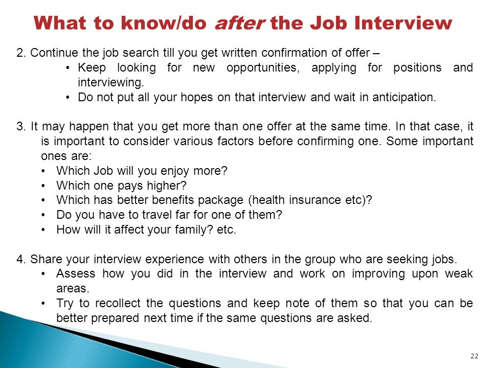 What to know/do after the Job Interview