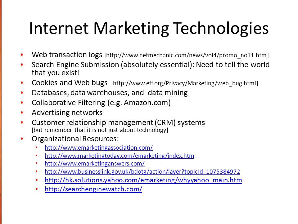 Internet Marketing Technologies