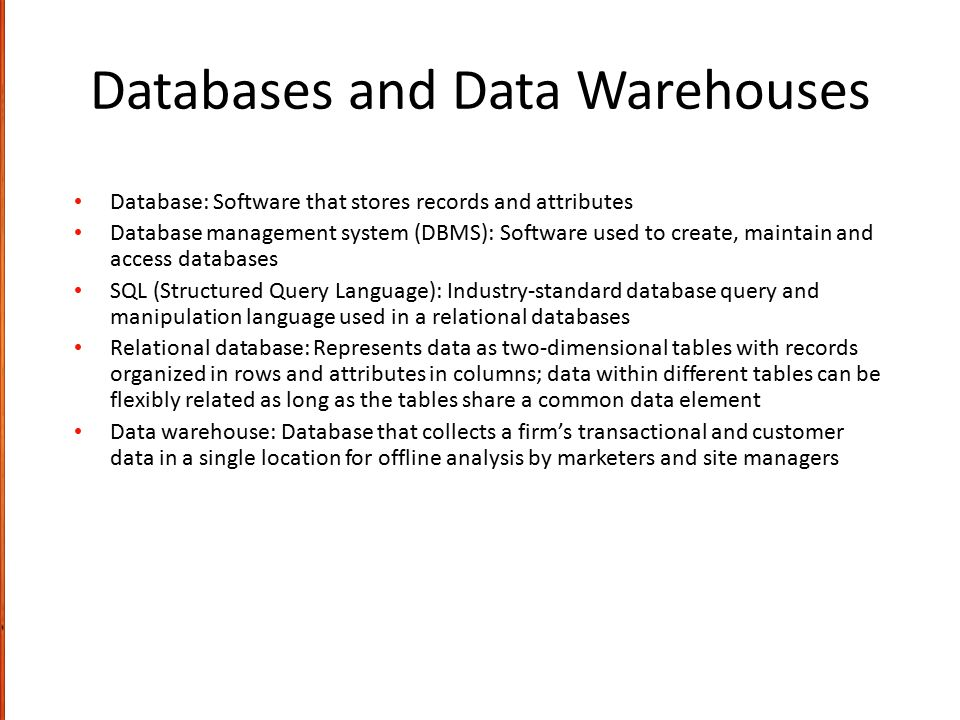 Databases and Data Warehouses