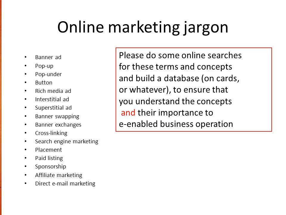 Online marketing jargon