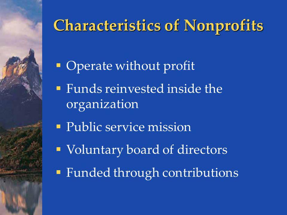 Characteristics of Nonprofits