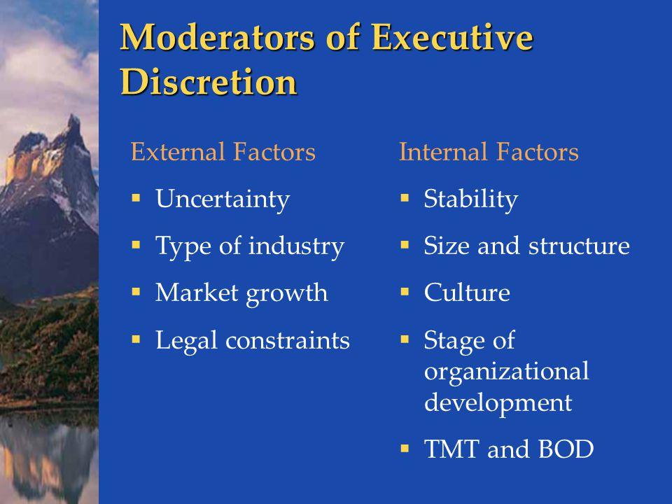 Moderators of Executive Discretion
