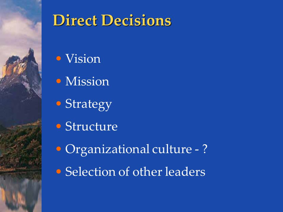 Direct Decisions Vision Mission Strategy Structure