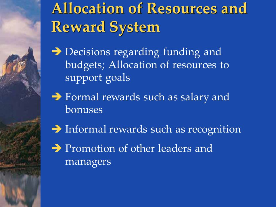 Allocation of Resources and Reward System