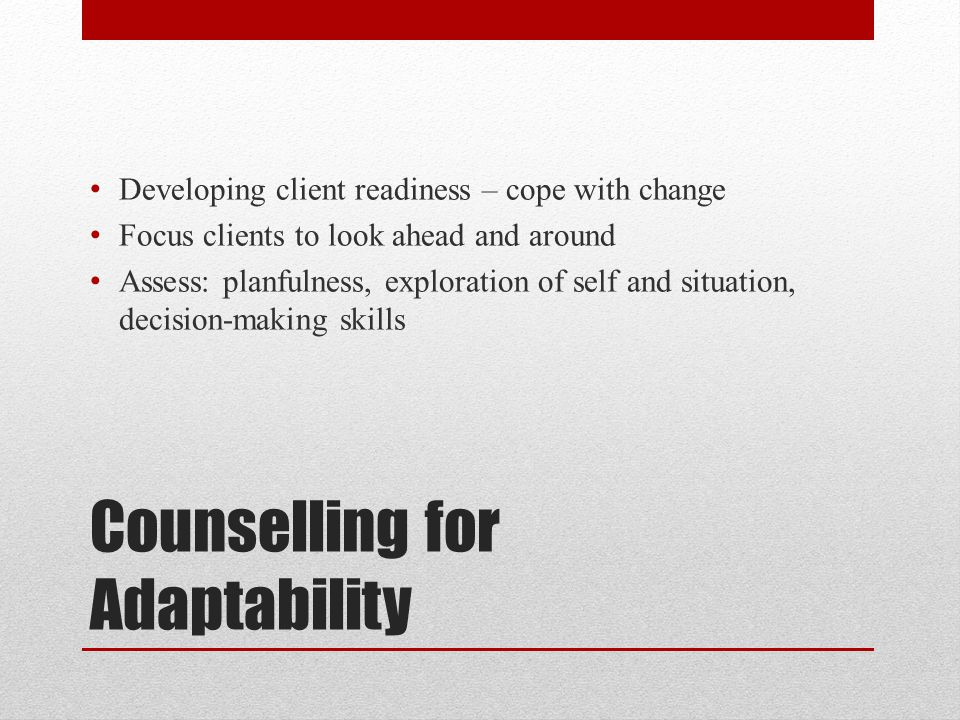 Counselling for Adaptability